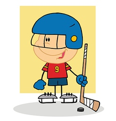 Happy Boy Playing Hockey Goalie vector image