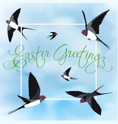Happy easter card with swallows vector