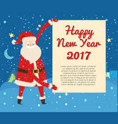 Happy new year 2017 postcard from santa claus vector