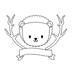 Head cute porcupine with tree branches and vector