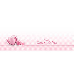 hearts paper cut style on pink dots background vector image