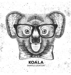 Hipster animal koala hand drawing muzzle of koala vector