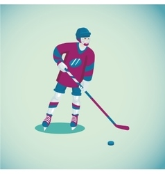 Hockey player Isolated cartoon character Flat vector image
