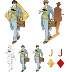 Jack of diamonds asian boy with a gun Mafia card vector image