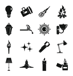 Light source symbols icons set simple style vector