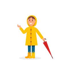 Little girl in yellow raincoat holding umbrella vector