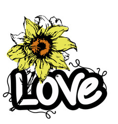 love with flowers words vector image