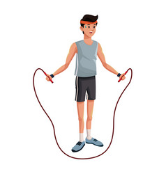 Man sports jump rope training vector