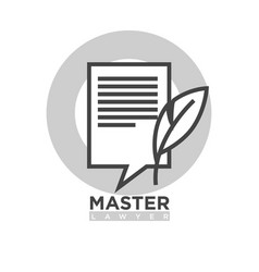 master lawyer monochrome emblem with paper and vector image