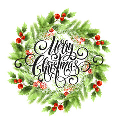 Merry christmas lettering in mistletoe wreath vector