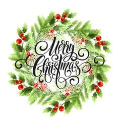 merry christmas lettering in mistletoe wreath vector image