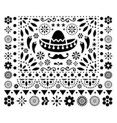 mexican floral design with sombrero vector image