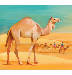 Middle eastern background with camel vector