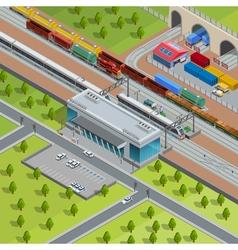 Modern Railway Train Station Isometric Poster vector
