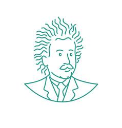 nerdy scientist mono line vector image