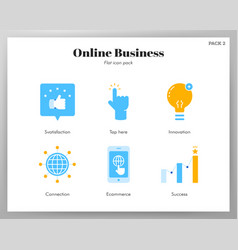 Online business icons flat pack vector