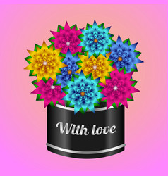 Original gift box with color flowers vector