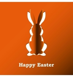 Paper rabbit on a orange background vector image