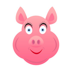 pig head female pink smiling on white background vector image