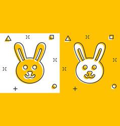 Rabbit icon in comic style bunny cartoon on white vector