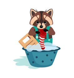 Raccoon washes clothes on washboard vector