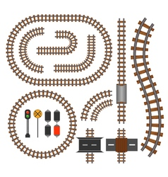 railroad and railway tracks construction elements vector image