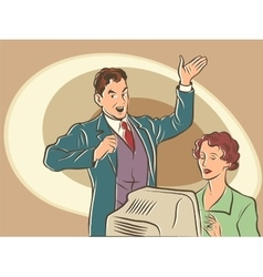 Retro businessman Secretary dictates the text vector image