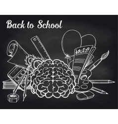 School objects on chalkboard vector