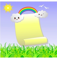Scroll to recording with the clouds a rainbow and vector image