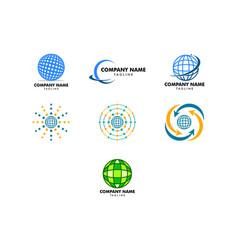 set globe design logo template vector image