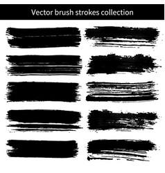 set grunge brush strokes vector image