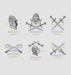 set monochrome knights emblems badges labels vector image