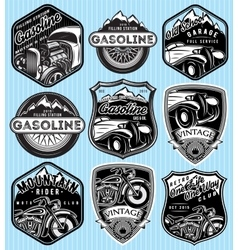 set of badges for advertising gasoline vector image