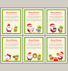 set of cards with happy santa and ridiculous elf vector image