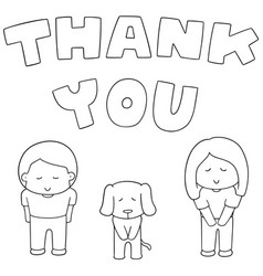 set of people saying thank you vector image