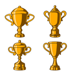 set of winner cups in engraving style design vector image