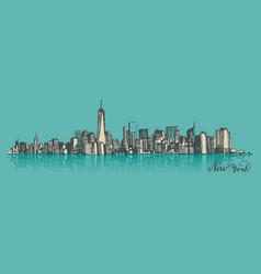 sketch manhattan new york vector image