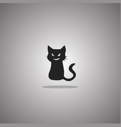 smirk cat silhouette isolated vector image