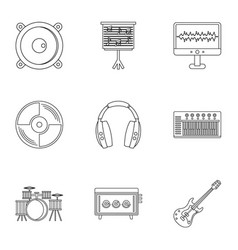 Sound producing icon set outline style vector