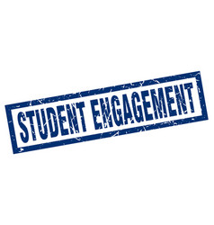 square grunge blue student engagement stamp vector image