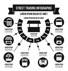 Street trading infographic concept simple style vector