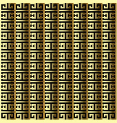Striped gold 3d greek seamless border pattern vector