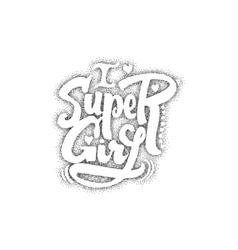 Super girl Pointillism - Calligraphic patch vector