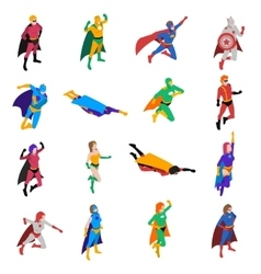 Superhero Isometric Icons Set vector image