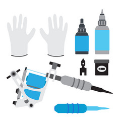Tattoo kit tools gloves and equipment in flat vector