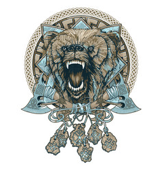 tattoo with a snarling bear and ethnic ornaments vector image