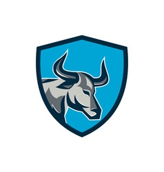 Texas Longhorn Bull Head Shield Retro vector