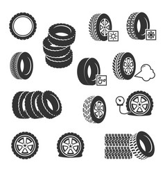 Tire shop tyres change auto service icons vector