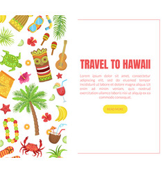 travel to hawaii landing page template with vector image