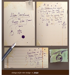 Vintage Christmas Note Set vector